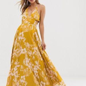 Free People Lille Printed Maxi Dress Hawaii Honey